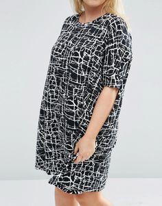 Image 3 ofASOS CURVE T-Shirt Dress In Mono Paint Print