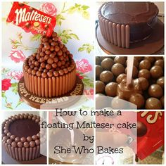 How to: Floating Malteser Cake! So, some of you will have seen my floating Malteser cake I posted at the weekend. Malteaser Cake, Anti Gravity Cake, Gateaux Cake, Cool Birthday Cakes, Birthday Ideas, 21st Birthday, Cake Decorating Tutorials, Decorating Ideas, Novelty Cakes