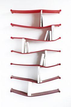Sculptor Luke Hart designed this clever set of rubber bookshelves for the Sculpture House.