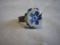 Forget Me Not Handmade Ceramic Ring by PeachBlossomStudio on Etsy, $14.00