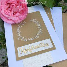 Gold und weiss schlicht & edel geprägt und gestanzt Konfirmationskarte roesis.blogspot.ch Tableware, Gold, Paper, Die Cutting, Tutorials, Flowers, Woman, Dinnerware, Tablewares