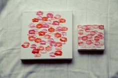 DIY little girl kisses on canvas(for Valentines day)