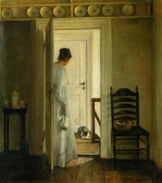 Carl Vilhelm Holsoe (1863-1935) A Saucer of Milk Oil On Canvas  78 x 70.5 cm (30.71 x 27.76)