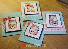 Propenvoll mit Liebe - Schüttelkarte Herzen im Glas Stampin'Up Schüttelkarte mit Pailetten und ausgestanzten Herzen Farben: Himmelblau, Flamingorot
