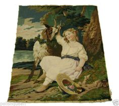 Superb Antique 19thC Fine Petit Point Needlepoint Tapestry Young Girl Her Goat | eBay
