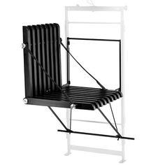 Upon stol (højrehængt) - Sortlakeret akacietræ Sammenklappeligt møbel til altanen