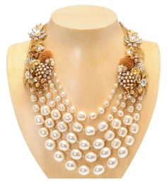 Miriam Haskell Pearl Statement Necklace  Brilliant use of components and swagging.