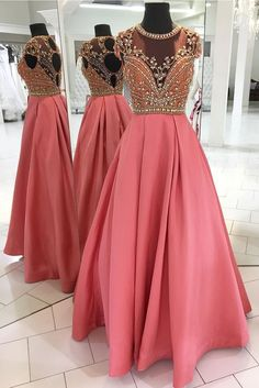 Luxurious Beaded Pink Long Prom Dress #Graduationdresses