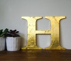 Vintage Shop letter H 24 carat gold leaf antique by BonnieandBell, £30.00
