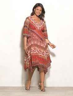 542e742edae WESTPORT Plus Size Shimmer Mixed-Print Asymmetrical Dress Dress Barn Dresses
