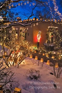 Canyon Road Santa FE - at Christmas.  Once you spend a Christmas in NM...you'll never forget it. Available Nov 26-Dec 3, Dec.11 -15, Dec 19-23, Santa Fe vacation rental, Cozy historic adobe home in town- walking distance to the plaza, https://www.airbnb.com/rooms/2562597 Visit Santa Fe,The City Different, winter in Santa Fe is beautiful for skiing, snow shoeing and hikes under the full moon