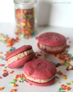 Pink Velvet Fruity Pebble Whoopie Pies
