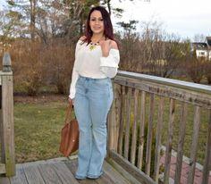 off the shoulder & flare jeans