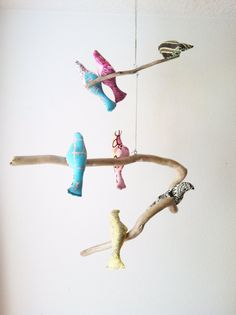 Bird Mobile / Pink / Blue / Brown / Yellow by FreeFallen on Etsy, $50.00
