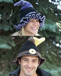 Free Crochet Pattern: Sugar'n Cream - Witch or Wizard Hats. The finishing touch to witch, wizard, and warlock costumes.