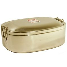 Stainless Steel Lunch Container      With the spotlight on the hazards of plastics leaching into our food and drink, here's a safe and healthy alternative!  This food storage container is made of high quality, food grade 304 (18-8) stainless steel. It can be used to store a variety of leftovers and is easily re-heated in the toaster oven.      Price: $17.99