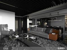 54.5 坪的空間,在開放式格局的規劃下,以一道長廊連貫了公、私領域,不僅形成流暢動線,也保有居家中對話的可能性;而在空間中,設計師刻意以低彩度作為鋪陳,同時添入不少天然材質,展現出沉穩、充滿力度的調性,而之中流通的空氣與光線,則讓粗獷氛圍中釋放出隱約的溫柔。客廳以電視主牆作為視覺焦點,牆體採不加修