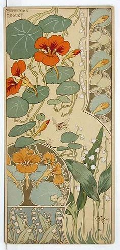 Extremely rare and beautiful French Art Nouveau set of 8 floral color lithographs by Riom, in their original pictorial cover folder. Each print features several types of flowers, and also each shows a single insect. Incredible example of floral Art Nouveau, and never seen with cover included.