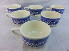 "6 Vintage Willow Ware USA coffee mug cups Blue&White 3 3/4"" diameter 2 1/4"" tall #USA"