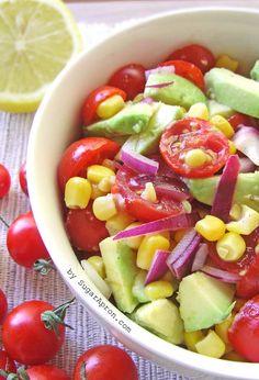 Avocado, Corn & Cherry Tomato Salad  | www.sugarapron.com | A Fresh #Summer #Cherrytomatoes, #Corn and #Avocado #Salad