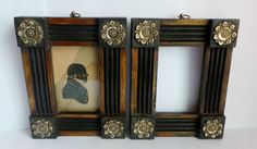 Antique Early 19th Century Picture Frames Silhouette Brass Rosettes   eBay