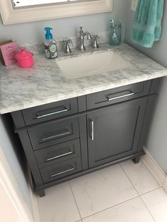 home decorators collection sonoma 36 in w x 22 in d x 345 in h vanity in pebble grey with natural marble vanity top in white with white basin - Home Decorators Vanity