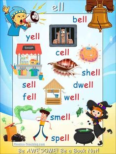 ell word family - words ending in ell poster - Free & Printable - Ideal for classroom books and phonics lessons Phonics Blends, Phonics Rules, Phonics Lessons, Phonics Words, Jolly Phonics, Phonics Reading, Teaching Phonics, Teaching Reading, English Phonics
