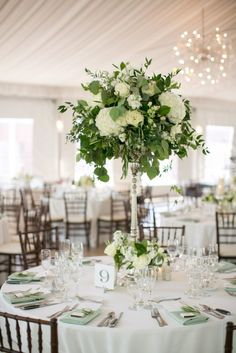 Green & white tall flower arrangements | Galleria Marchetti Chicago Wedding
