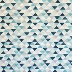 Tissu Coton Triangles Vert