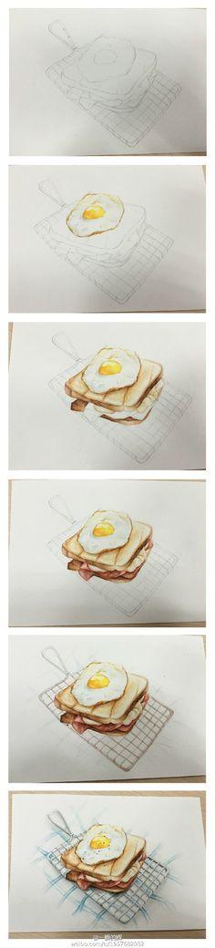午餐时间~~鸡蛋火腿三明治~#美食手绘#...