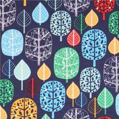 blue leaf fabric 'Acorn Forest' Park by Robert Kaufman 1