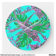 Palm leaf and coleus tropical ice large clock Palm leaf and coleus tropical ice large clock Tropical Design, Large Clock, Fire And Ice, Coral Pink, Palm, Leaves, Interiors, Display