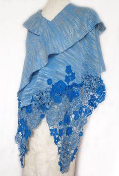 Sky blue knitted and crocheted shawl light blue by ingabojatjuka