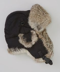 Love this Wee Tracks Black & Gray Fur-Lined Beanie by Wee Tracks on #zulily! #zulilyfinds