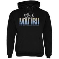 Surf Malibu Black Adult Hoodie