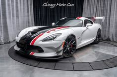 pictame webstagram NEW ARRIVAL: 2016 Dodge Viper ACR Extreme Aero in Viper White Clearcoat! Only 3800 miles! Extreme Aero Package including Front Splitter, Rear Diffuser, Wing and MORE! 2016 Dodge Viper, Viper Acr, Black Wheels, Motor Car, Diffuser, Super Cars, Chicago, United States, Stripes