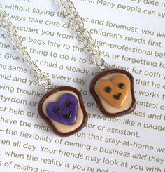 Peanut Butter and Jelly Best Friends Necklaces
