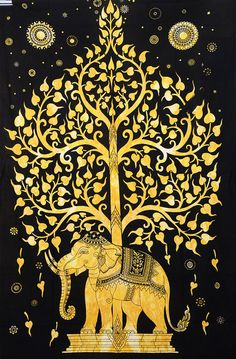 Elephant Tree Of Life Tapestry Tie Dye by Rajasthancreations