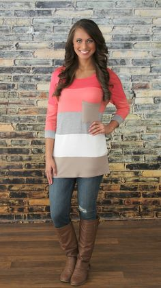 The Pink Lily Boutique - One Of Those Days Colorblock Tunic, $34.00 (http://thepinklilyboutique.com/one-of-those-days-colorblock-tunic/)