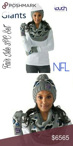 New York Giants NFL Fair Isle Knit 3pc Set Touch by Alyssa Milano Officially Licensed NFL Fair Isle Knit 3pc Set   Don't let a little thing like cold weather keep you from the game. You're a true super fan! Show up and cheer on your favorite team with this warm, Fair Isle knit 3-piece set. You'll be glad you did when the game goes into overtime.  What You Get Pair of 5-finger pull-on gloves Beanie-style hat with pom pom at top Wide infinity-style loop scarf Please lmk if you have any…