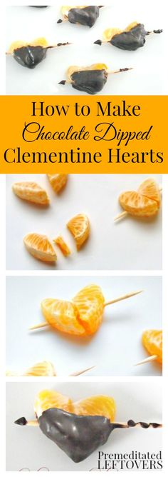 How to Make Chocolate Dipped Clementine Hearts: Make a healthier Valentine's Day treat with this recipe for clementine hearts. Perfect for parties