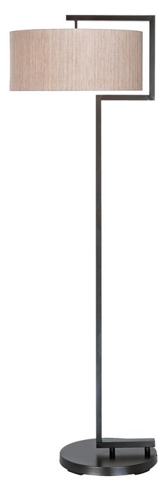 """Urbanite Floor Lamp - A diffuser in the shade creates a soft lighting effect. With a variable floor dimmer.        Bronze finish.      Drum shade.      Takes one 150 watt bulb (not included).      60"""" high.      Shade is 18"""" across the top, 18"""" across the bottom and 8"""" high."""