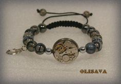 Mens  Steampunk bracelet of  Dragon Veins Agate Beads by Olisava
