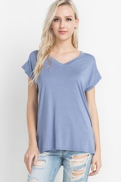 Blue Bamboo V-Neck T-Shirt - Single Thread Boutique, $32.00