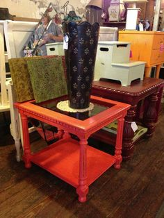 Table with glass top done in American Paint Company Coral Reef.