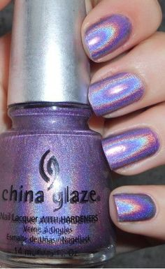 Hair and Beauty on Share Sunday Polished Criminails: Swatch: China Glaze – IDK (Happy Holo Day! French Nails Glitter, Fancy Nails, Love Nails, How To Do Nails, My Nails, Fabulous Nails, Gorgeous Nails, Pretty Nails, Nail Polish Designs