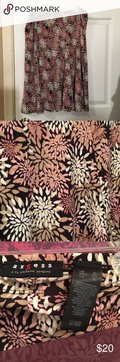 Floral print skirt Pink, tan, white and brown skirt with floral pattern. In excellent shape Axcess Skirts Midi