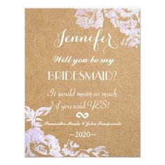 Country Bridesmaid Invitation Elegant Simple Modern Rose Floral Faux Silver Card