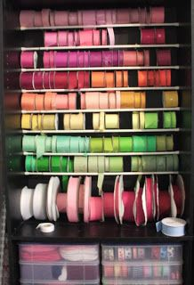 Sunla Designs: Mess Management Monday: Craft Room Organization- Solid Color Ribbons