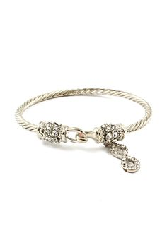 Classic Cable Infinity Bracelet  in Silver